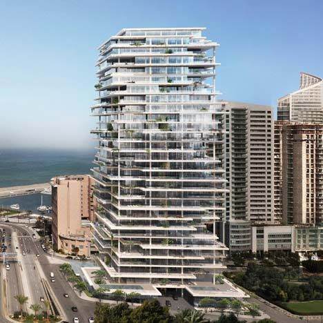 Herzog and de Meuron's design for an apartment tower featuring overhanging floor plates and terraces.