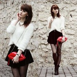 Sweater, Skirt, Boots, Bag - Red lips. - Katarzyna Konderak