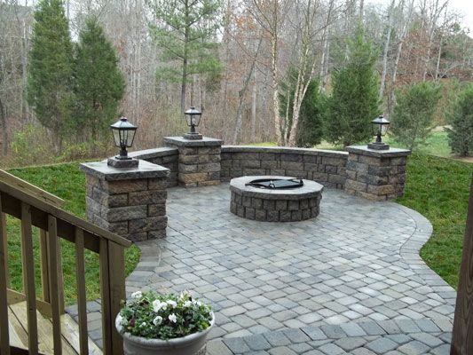 Charming Paver Patio, Sitting Wall, Fire Pit, Walkway, Columns, Steps