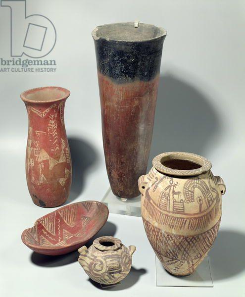 Selection Of Vases Naqada Iii Period 4000 3100 Bc Terracotta