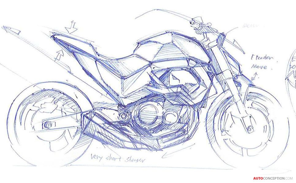 Kawasaki Z800 Design Story Motorbike Drawing Bike Sketch