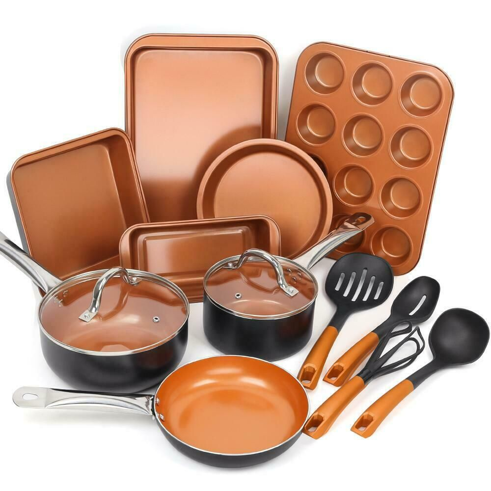 Fgy 14 Pcs Nonstick Cookware Set Copper Pots Pan Bakeware Set