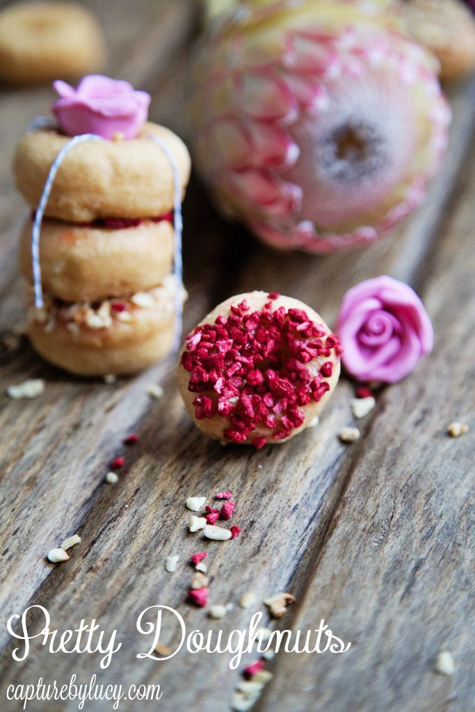 Pretty Doughnuts - National Doughnut Week #freezedriedraspberries