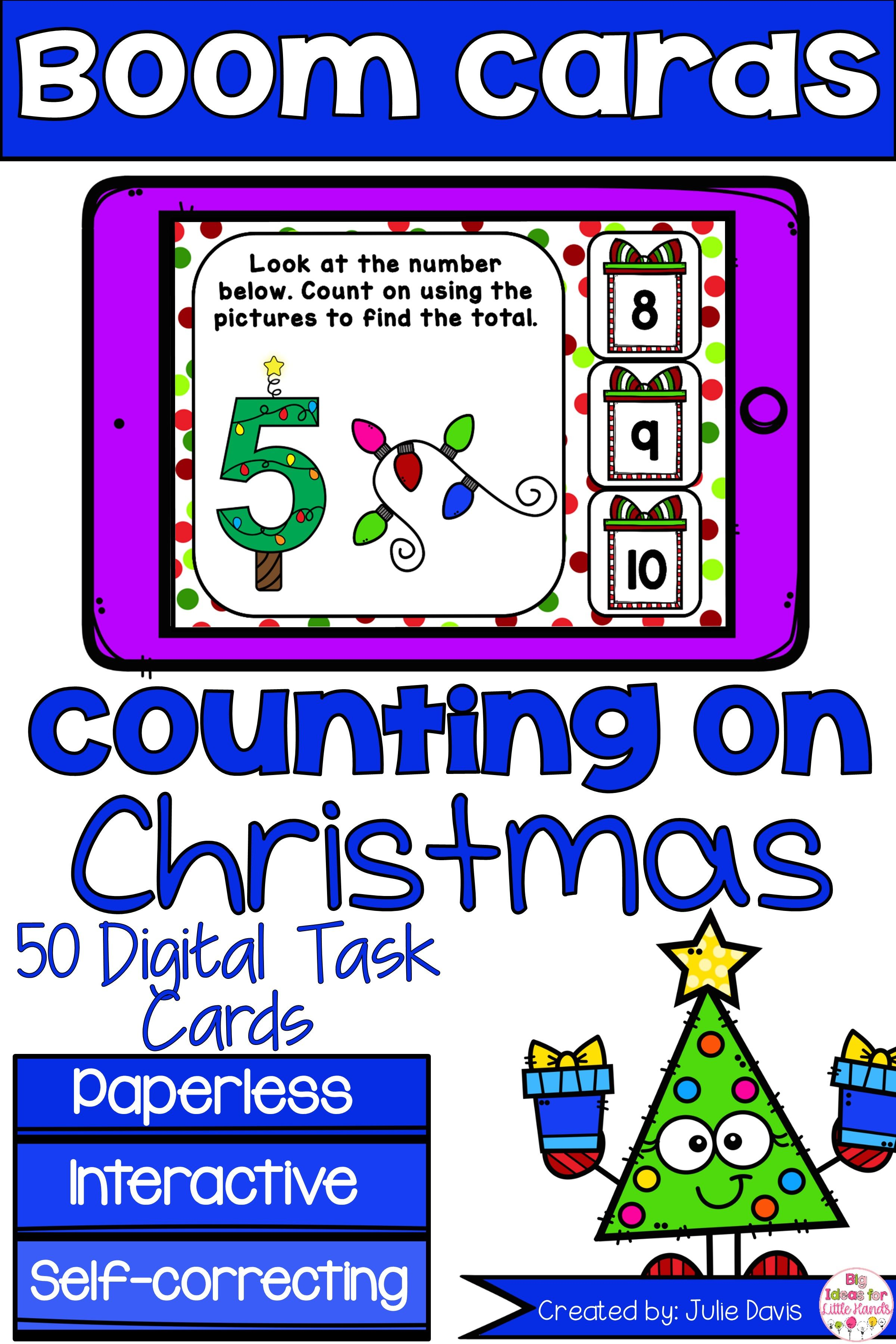Christmas Counting On Addition Digital Game Boom Cards