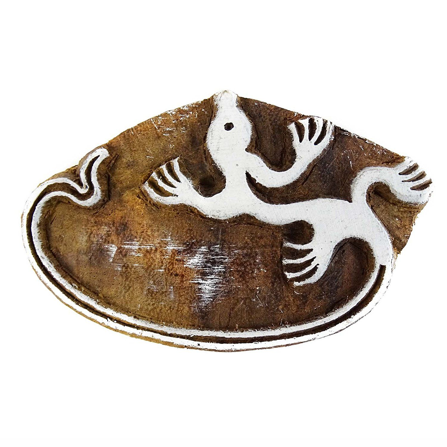 Hand Carved Printing Block Brown Wooden Textile Stamp Lizard Stamp Block Print: Amazon.co.uk: Kitchen & Home