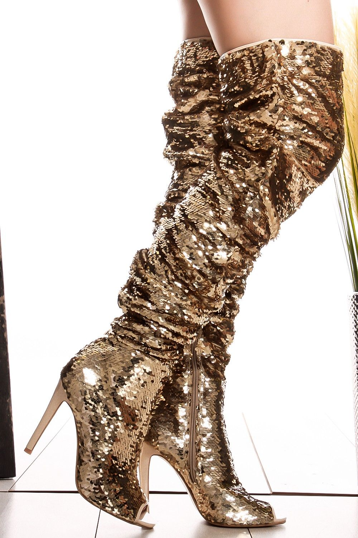 eb868d3bd Gold sequin accent side zipper peep toe over the knee high heel boots  #goldboots #overtheknee #sequin