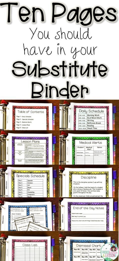"Ten Pages You Should Have in Your Substitute Binder is part of Substitute teaching, Teaching, Homeschool teacher, Teacher classroom, Teaching organization, Teacher organization - If you are getting ready to put your Substitute Binder together, you might have questions about what information to include in it  I've seen substitute binders with too much, and some with not enough  Here are the 10 pages that I think every teacher should have in their binders  Page 1   Daily Schedule This page should give your substitute an overview of the day  I usually put this information on a table with the starting and ending times on one column and the activity that's taking place on the other  See it my Substitute Binders here  Page 2   Specials Schedule This page should have a list of the specials that the students go to each day  If your students need to bring something with them, like pencils, notebooks, or a folder, this page is a good place to add that information  See my Substitute Binders here  Page 3   Medical Alerts List the names of students with any medical conditions that need attention on this page  Students that have asthma, allergies, have seizures, are diabetic, or take any medication should be listed here  Include the students' names, their condition, and the action the sub needs to take  Remember to update this page as you get new students  See my Substitute Binders here  Page 4   Lesson Plans This is the most time consuming part of preparing for a substitute, but it's also a very important step  You'll have to walk through your day, step by step, and write down detailed information for your sub  Think about things like turning on the projector to listen to the morning announcements, making sure the kids go to the bathroom before they go to lunch, and other things that a substitute might not know to do  Remember, not everyone has the same experience level and detailed plans can be the difference between a great day and a disaster! Your plans have to be specific in terms of what times to do certain things, but generic in terms of what to teach  For example, you should tell your sub what time to teach reading, but suggest that she choose a book and an activity from your binder (more on that later)  Page 5   Class List Always include several copies of your class list  These are useful for taking attendance, checking off who completed assignments, and they also come in handy in case the sub wants to write down the name of a student on a note for you  This is another page that needs to be updated any time you loose or gain a student  Page 6   Discipline This is the page where you describe your discipline system  Some teachers use rewards, some move clips, and some do completely different things  It's nice to fill your substitute in just so she understands what your students are accustomed to  See my Substitute Binders here  Page 7   Attendance Forms Your substitute will probably not have access to your computer, much less to your password to access a teacher portal for electronic attendance  Some schools have a strict attendance policy that requires names of absent and tardy students to be entered by a certain time  I keep little forms in an envelope that are readily available and easy to use  Your sub can send 2 buddies to the office with the form if need be  Page 8   Dismissal Procedures What needs to be done at dismissal time  What do the kids take home  Where do they sit  Do they stack chairs  How do they get to the buses  Write all of that information on this page! See my Substitute Binders here  Page 9   Dismissal Chart In my binder, I have a chart with every way kids can go home bus rider numbers, car riders, walkers, etc  I list the name of each student under the heading that shows how they go home  This is another page that needs to be updated if you get new students  Even if your students know how they go home, if a kid doesn't show up where they should have, administrators will ask you how the student went home  It's nice to have a reference available  Page 10   End of the Day Notes If you'd like your sub to write you a note about how the day went, it's helpful to have a form for her  I just make copies of my form and leave them in a plastic sleeve in my binder  You will also need to have the materials that your sub will use to teach  For example, add math worksheets, reading activities, writing prompts, and morning work to sheet protectors, and add those to your binder  You might also consider having a ""Sub Tub"" with certain books and math games for your substitute to use  Have generic lesson plans that work all year  Just change the book or the game that is used  When you start putting your binder together, you can type up your pages on a word document, or you can look for templates online  If you want you can also look into the templates I used on this post  They are available in this 10 page format, or with Reading and Writing lesson plans that include all of the handouts that go with each lesson (perfect for 1st and 2nd Graders)  Editable Lesson Plans with all the handouts included! Whatever you decide to do, I hope you can use some of these ideas to assemble a fabulous Substitute Binder! If you have other tips for teachers, we'd love it if you dropped us a line in the comments section! For more classroom management tips check out these posts Control Pencil Chaos Once and For All! A 3Step Plan for Collecting Supplies 20 Questions to Ask Yourself When Preparing for the 1st Day of School Back to School Tips Vol 1"