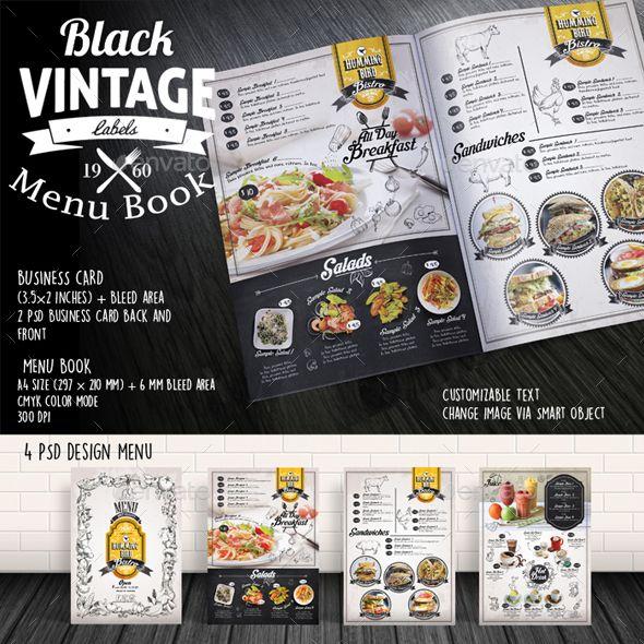 Black Vintage Menu Book Template Psd Design Http Graphicriver