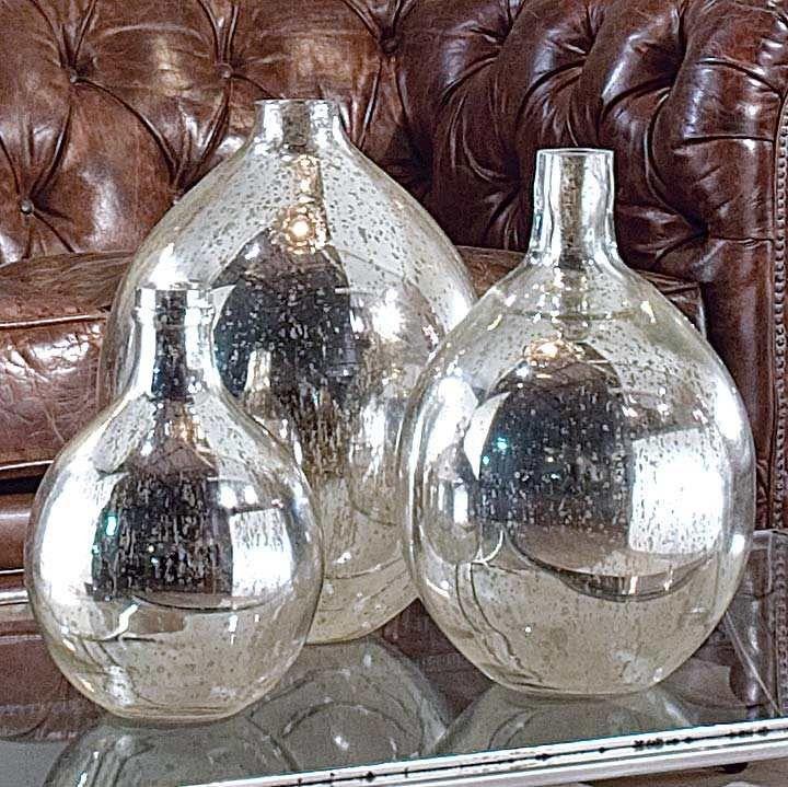 Antique Mirror Glass Wine Spheres - set 3
