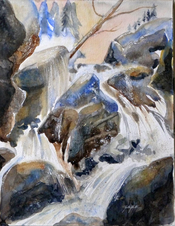 peinture contemporaine tableau la cascade aquarelle paysage montagne environs de meg ve. Black Bedroom Furniture Sets. Home Design Ideas