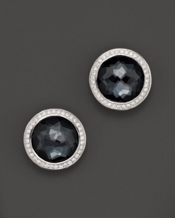 Ippolita Stella Stud Earrings in Hematite Doublet with Diamonds zFrq09