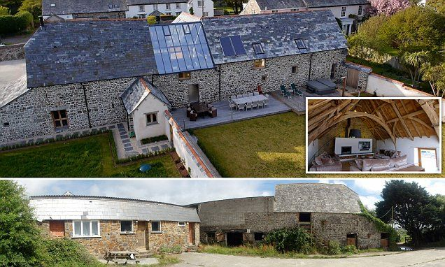 Couple take 'half a million pound leap of faith' to buy derelict 700-year-old Cornish barn and transform it into spectacular family home now worth £1.25million