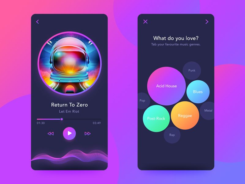 Back to 80s'-Music App Disco Style Concept Design