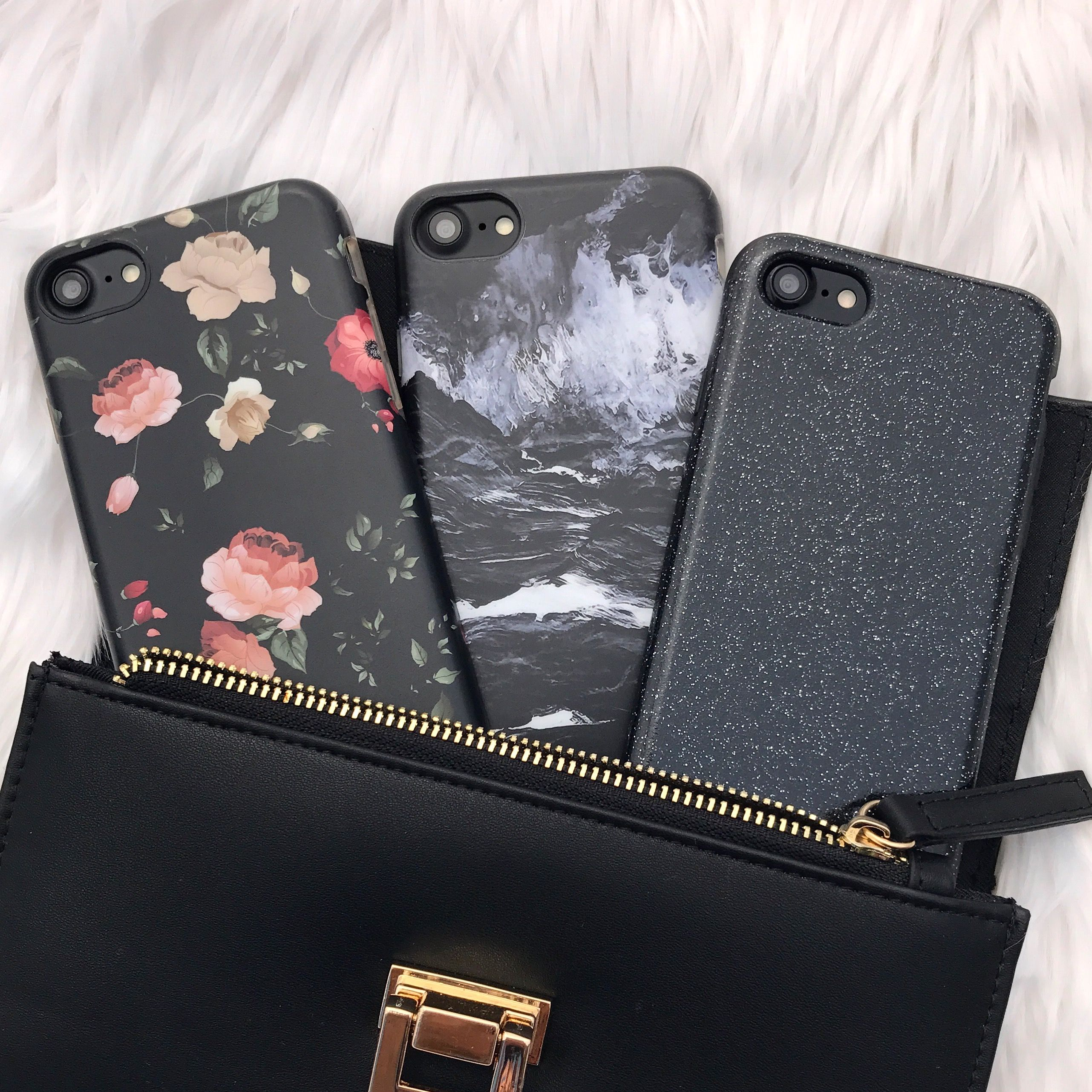 All black with the Dark Rose + Black Marble + Black Glam Case for iPhone 7 & iPhone 7 Plus from Elemental Cases