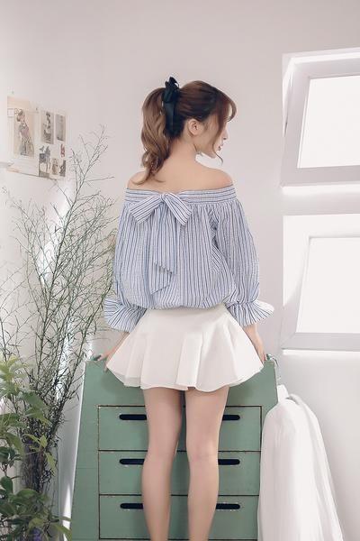 korean fashion japanese two sides wear striped shirt h. Black Bedroom Furniture Sets. Home Design Ideas