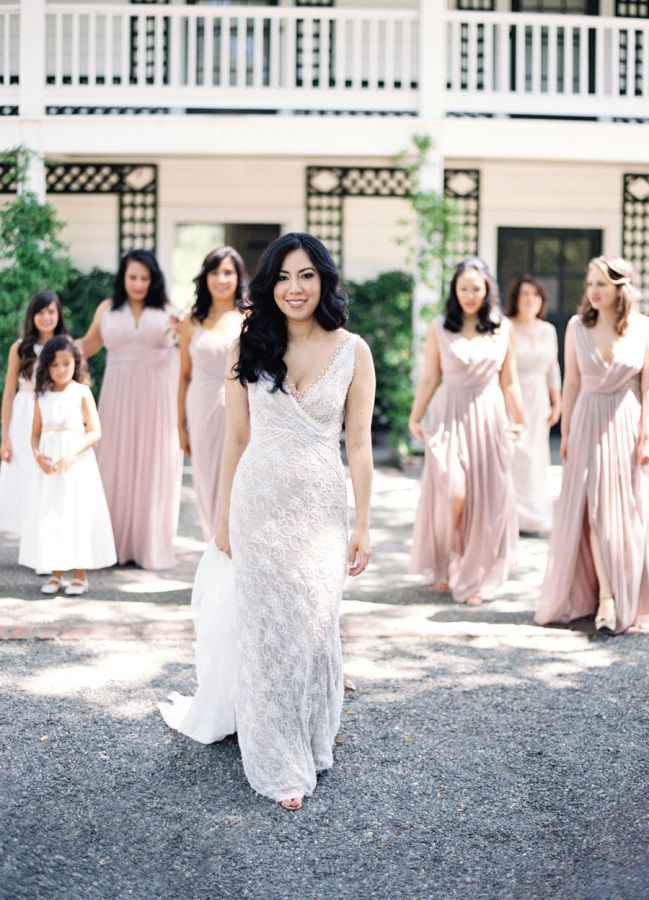 Gorgeous gathered lace wedding dress: http://www.stylemepretty.com/2016/04/20/chic-garden-wedding-with-a-rich-moody-color-palette/ | Photography: Jose Villa - http://josevilla.com/