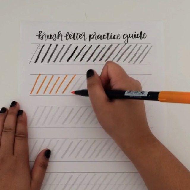 Want to get better at brush lettering? Get practicing with this guide! http://shop.randomolive.com/brushpractice?utm_content=buffer16ce5&utm_medium=social&utm_source=pinterest.com&utm_campaign=buffer. #brushlettering