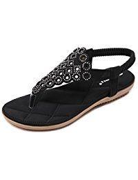 915652e1f6cd6 Women Beach Wear Flat Sandals Glitter Shoes Cruise Holiday Bohemian Flip  Flops