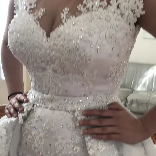 Photo of Splendid Tulle Jewel Neckline 2 In 1 Wedding Dresses With Lace Applique & Deta …