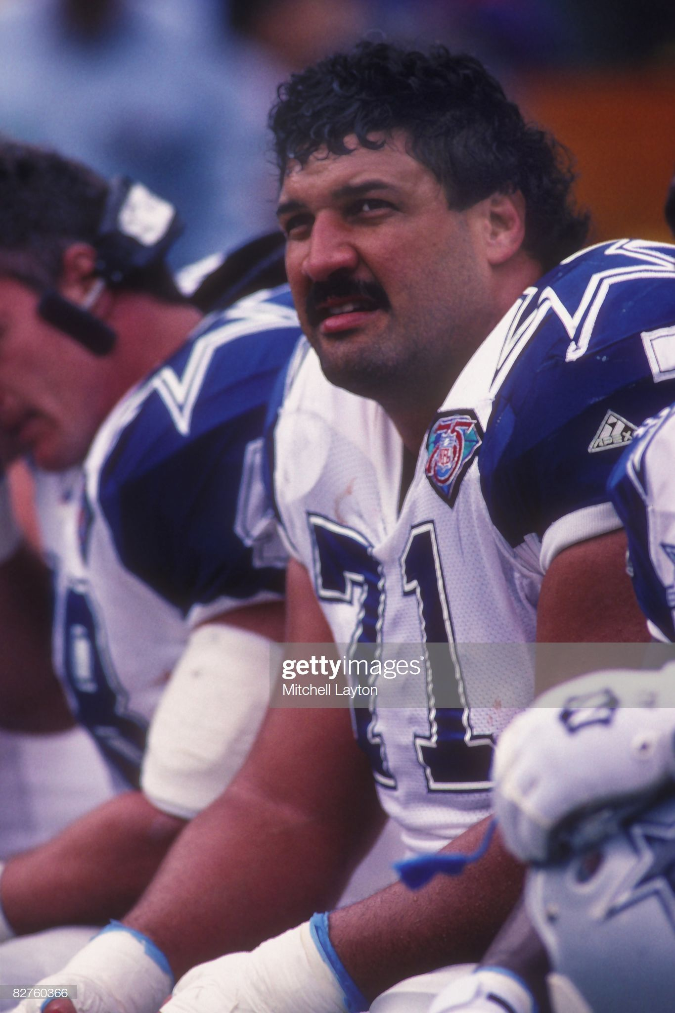 Mark Tuinei61 of the Dallas Cowboys during a NFL football