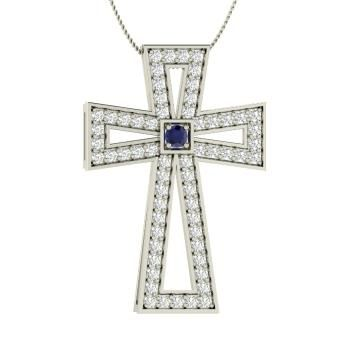 Round Sapphire Necklace in 14k White Gold with SI Diamond
