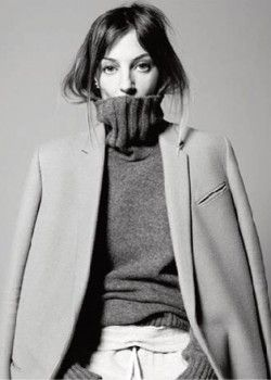 """""""Who needs a haircut if you can tuck your hair into the turtleneck?!"""" asked Phoebe Philo. """"No one!"""" said I, and we both tucked our hair! The end. Oh and #ilovechloe @Annette Nokes-A-PORTER.COM @NET-A-PORTER.COM"""