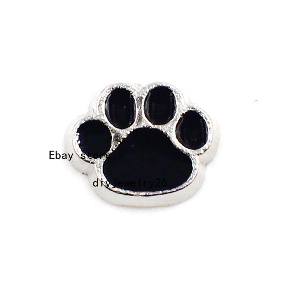 10pcs dog paw Floating charms For Glass memory Locket Free shipping FC004