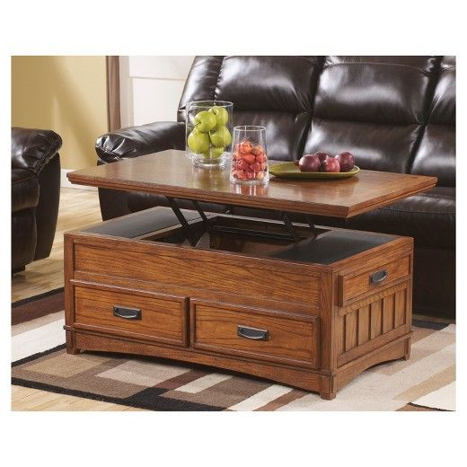 Cross Island Coffee Table With Lift Top Medium Brown Signature Design By Ashley Coffee Table Coffee Table With Storage Coffee Table Design