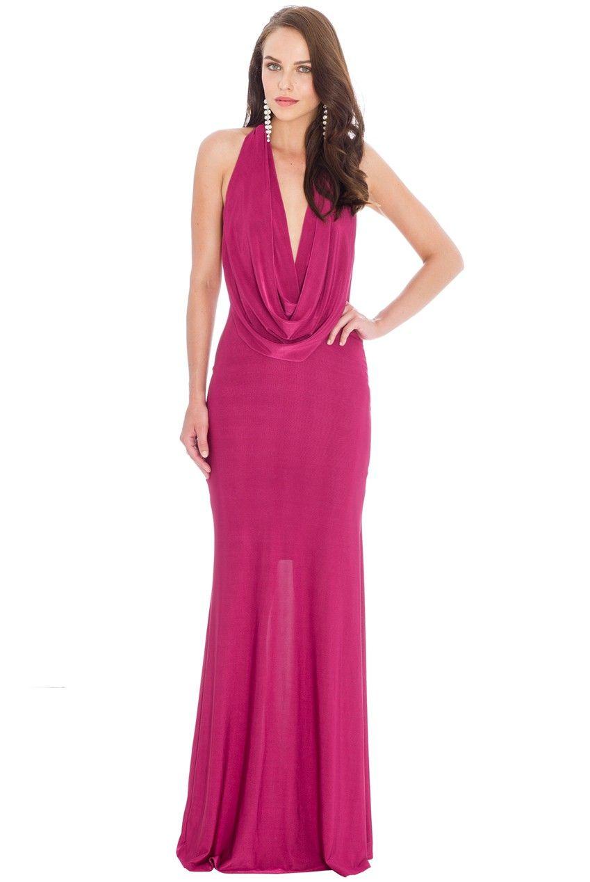 Cowl Neck Maxi Dress - Magenta - DR573 | Fashion (dresses ...