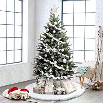 amazoncom aytai 48 inches luxury faux fur christmas tree skirt soft snow white