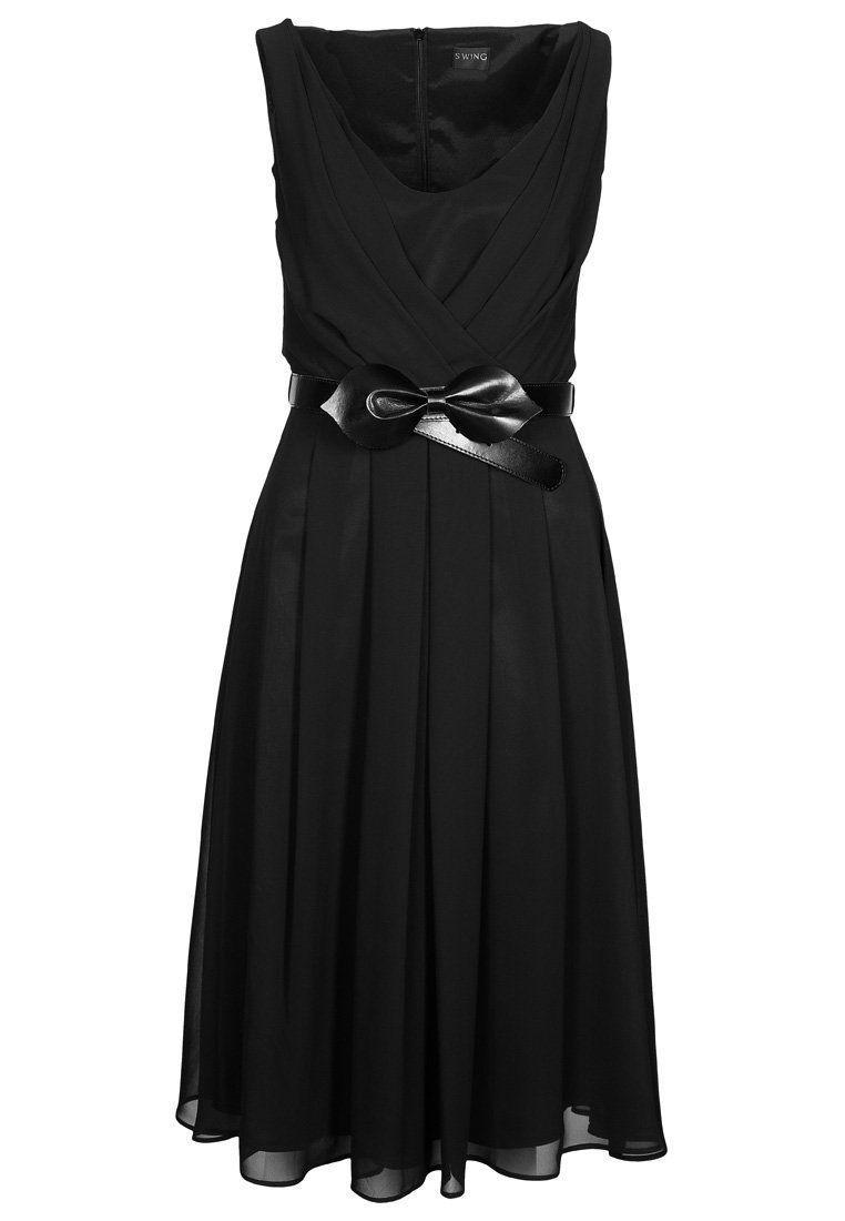 cocktaildress black with belt | mode, schwarzes kleid