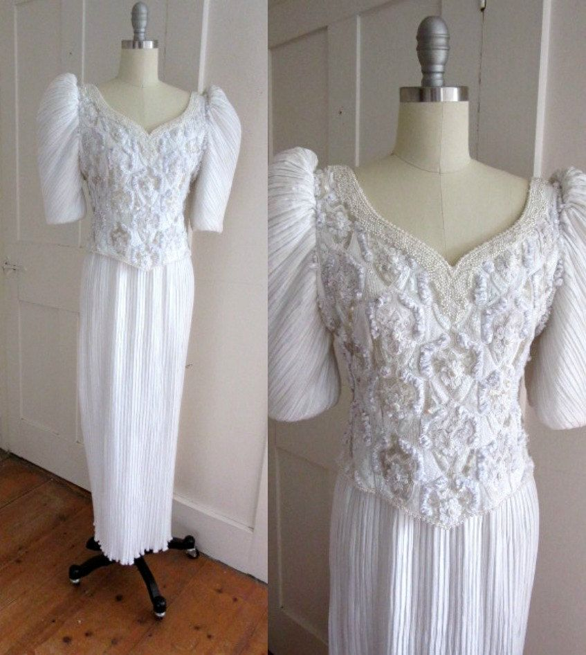 80s White Bead and Sequin Pleated Dress Wedding Dress