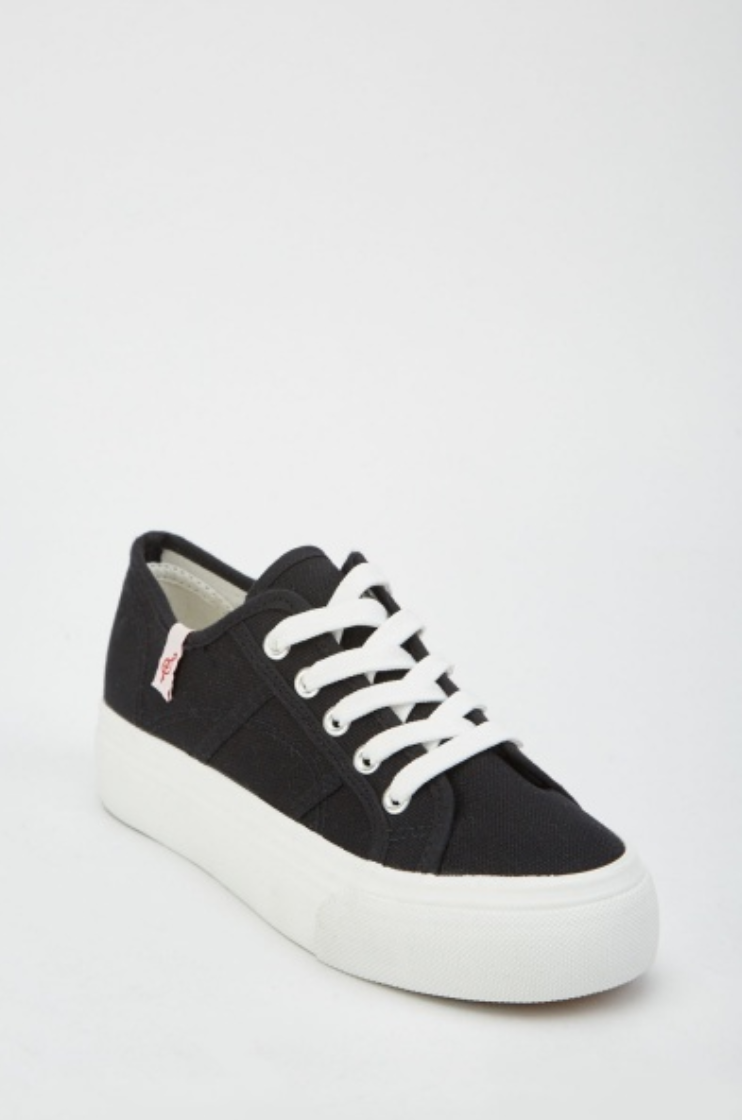 Lace Up Textured Platform Trainers