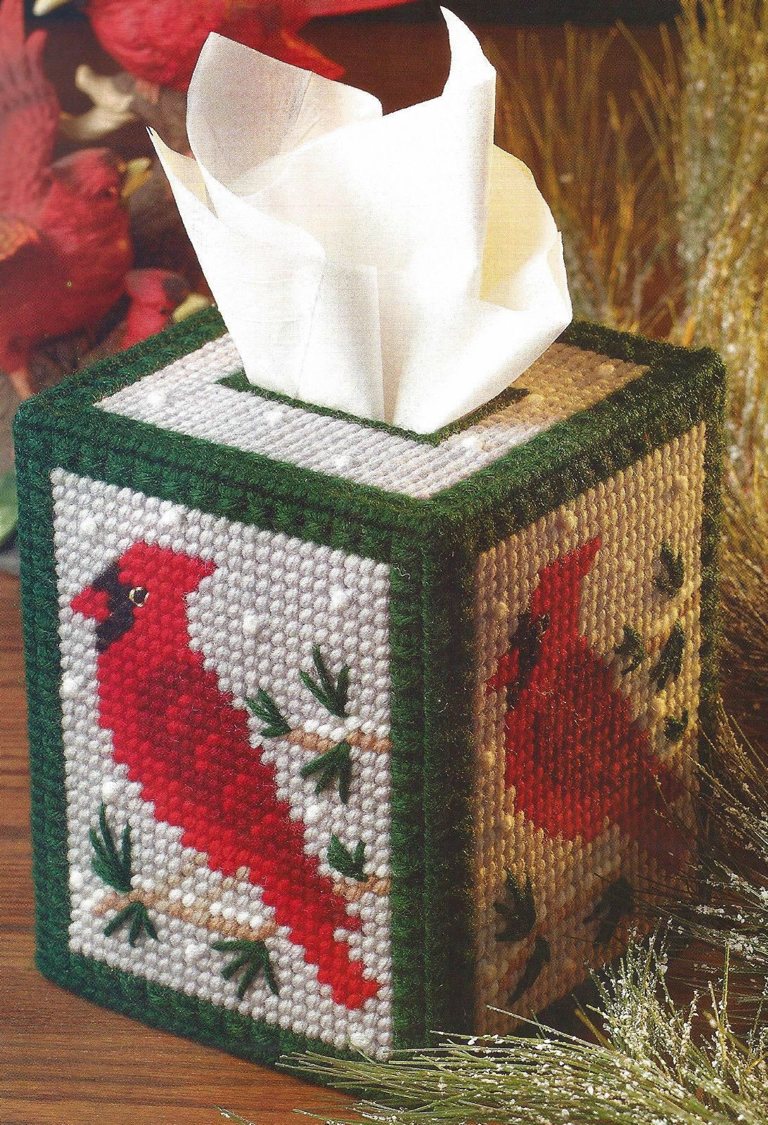 Plastic Canvas Pattern Only Snowy Cardinal Tissue
