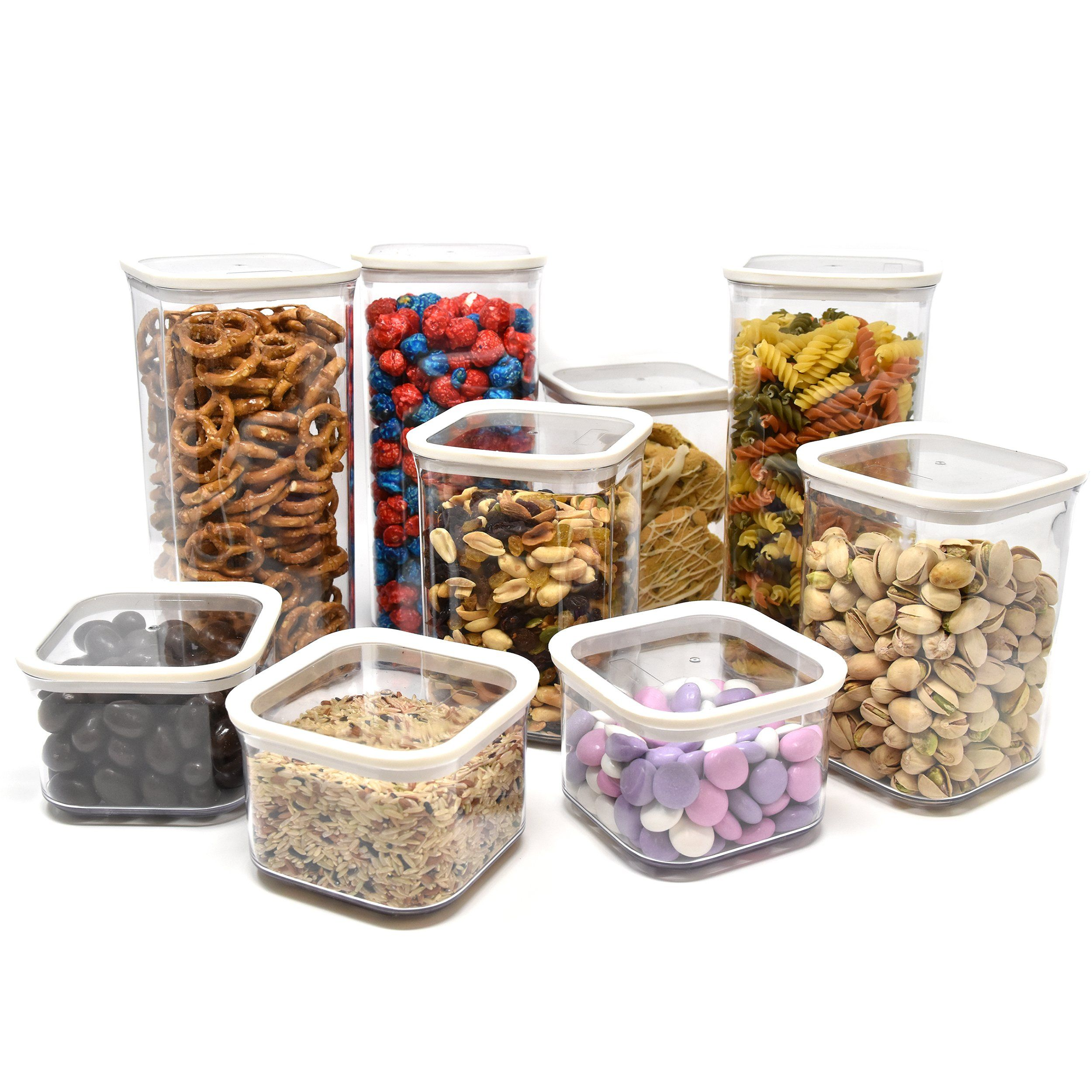 Airtight Dry Food Storage Container Set Food Saver Clear Plastic Airtight  Containers And Lids Stackable Space Saver Will Keep Your Food Fresh And  Cabinet ...
