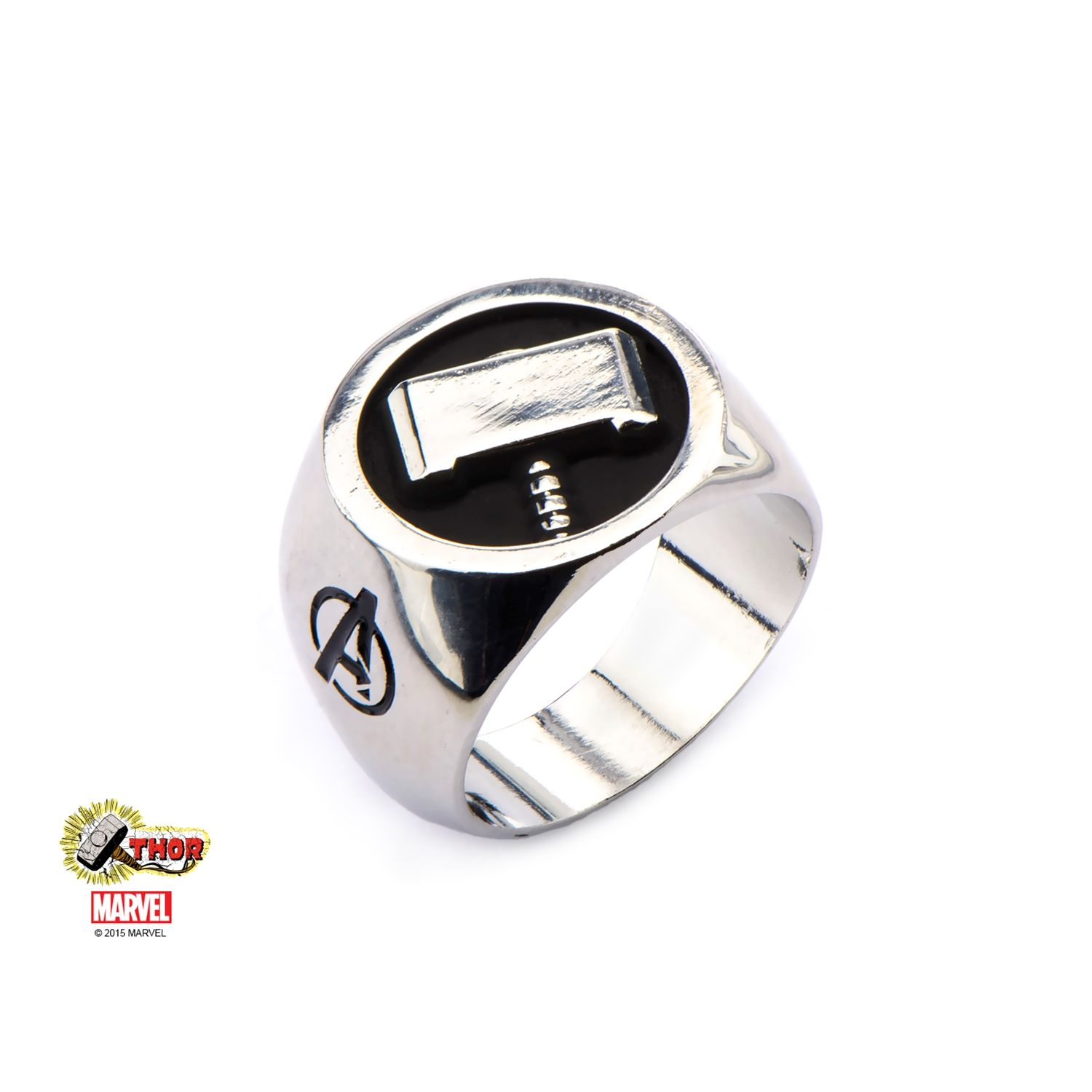 Marvel Stainless Steel Thor Hammer Signet Ring 8mm Marvel and DC