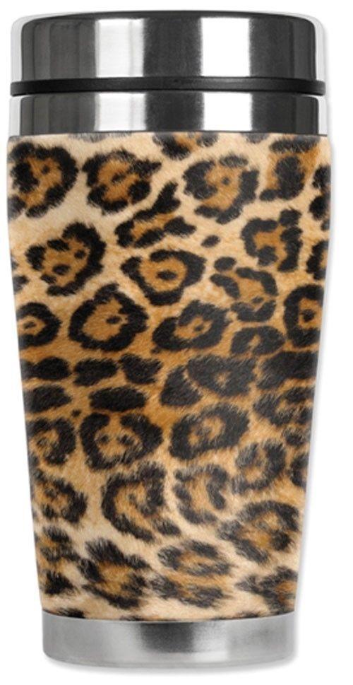 Spotted Leopard Print Travel Mug Water Proof Insulated Cup Mugzie Brand Mugzie Animal Print Leopard Animal Animal Print Fashion