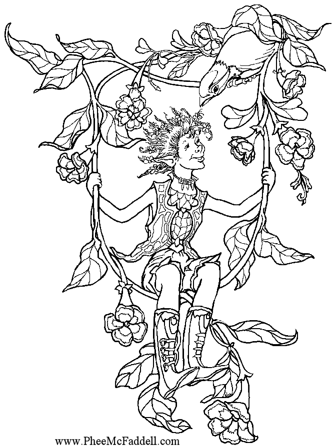 Flower Vine Swing www.pheemcfaddell.com | Coloring Pages-Fantasy ...