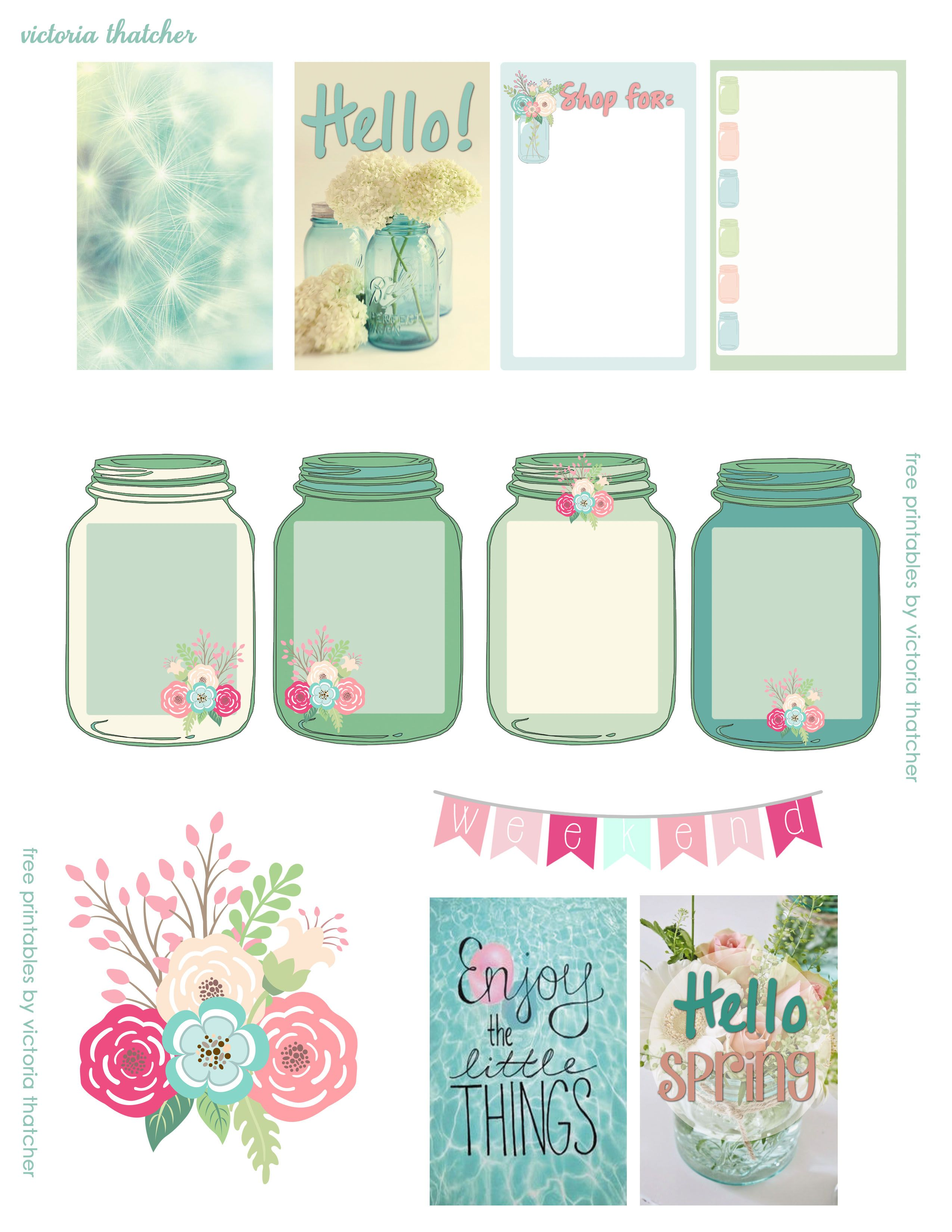 Free Spring printables for planners, happy mail or flipbooks. Cute ...