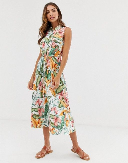 d4e6ff996c3 Warehouse midi shirt dress in tropical print in 2019