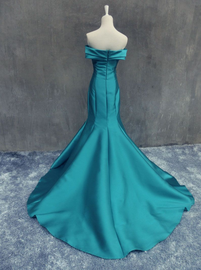 Mermaid long prom dress off shoulder emerald green satin prom