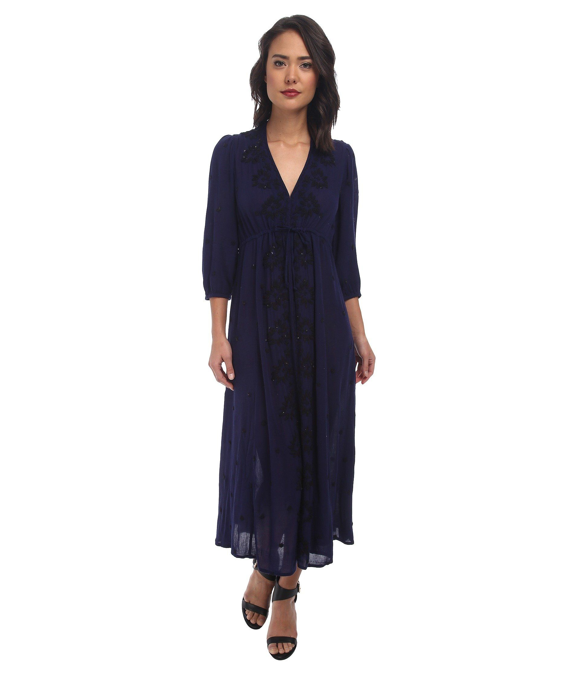 Free people womens embroidered maxi dress s blue colorpattern