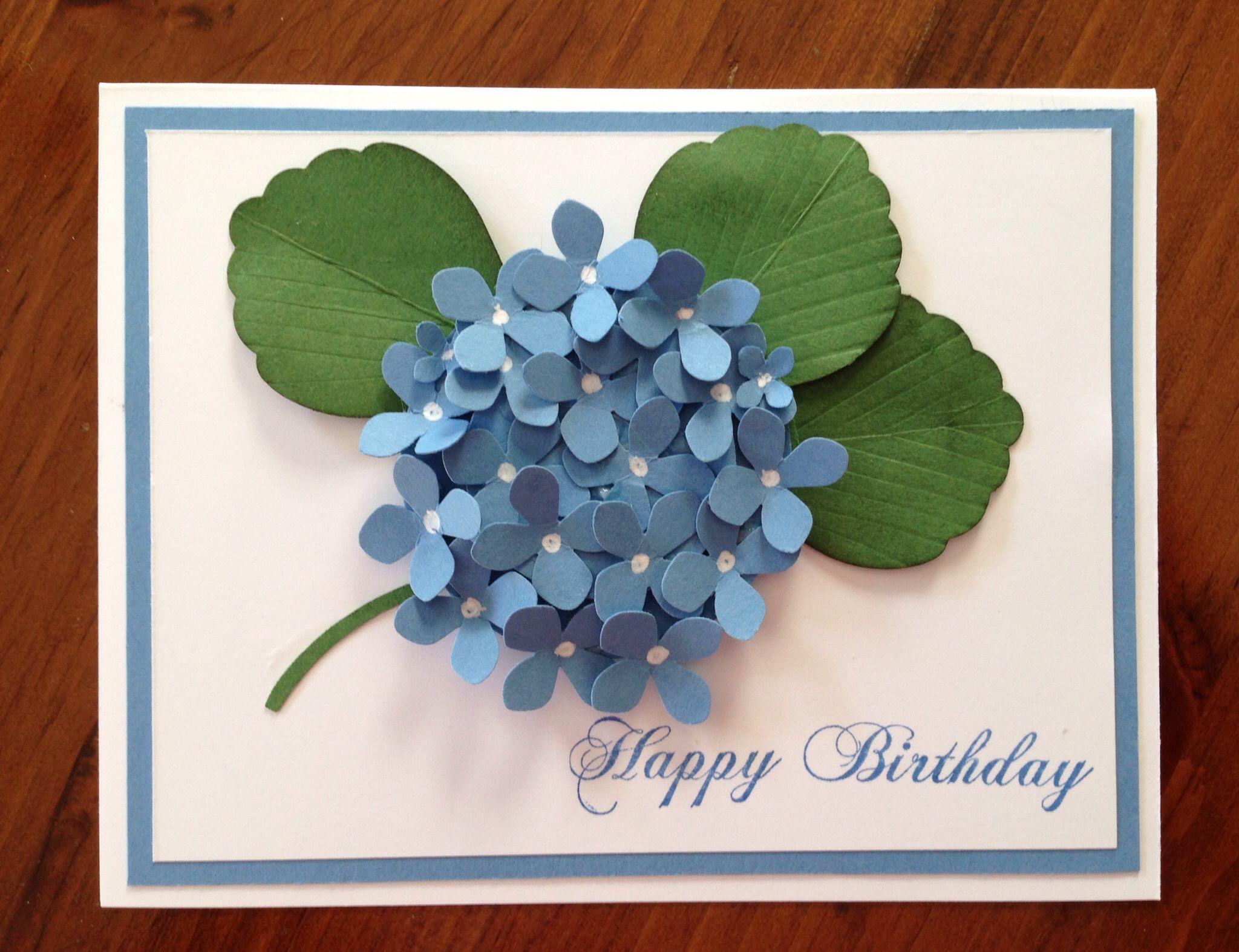Hydrangea Card Using Martha Stewart Punch Hand Stamped By Diane