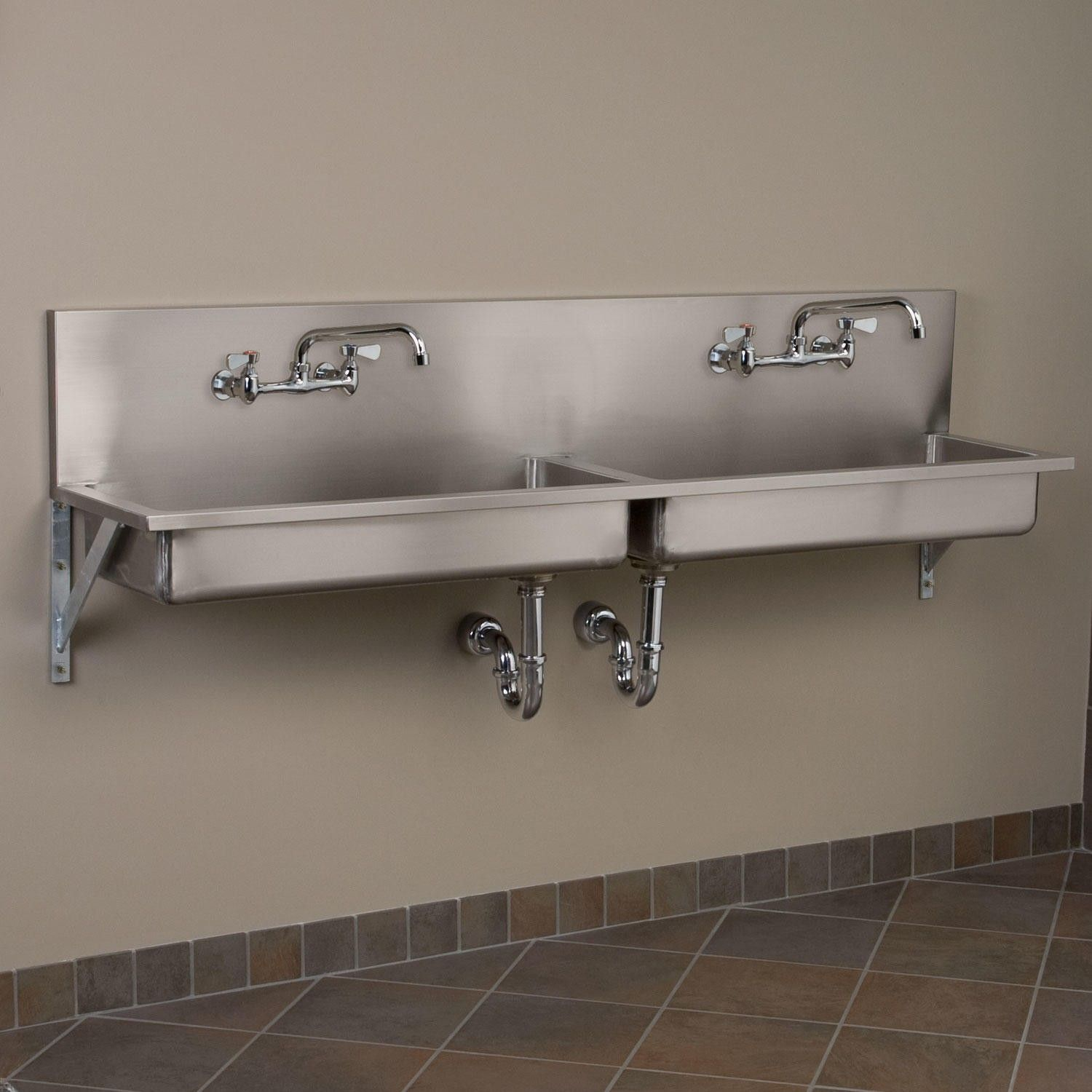 "72"" Double Bowl Stainless Steel Wall Mount mercial Sink"