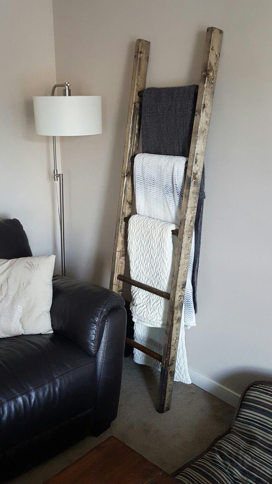 Easy Homemade Blanket Ladder Rack Blanket Rack Blanket Ladder Decor Homemade Bedroom