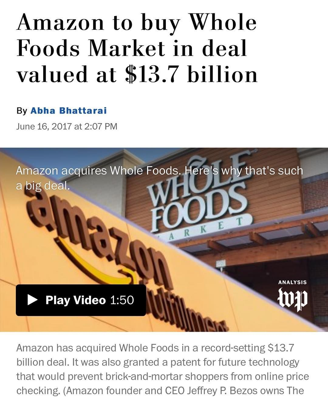 BREAKING NEWS Amazon is to purchase Whole Foods for 13.7