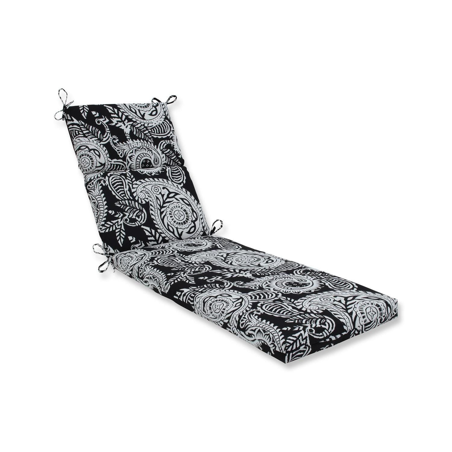 72.5 White Paisley Swirl And Black Outdoor Patio Chaise Lounge Cushion,  Outdoor Cushion
