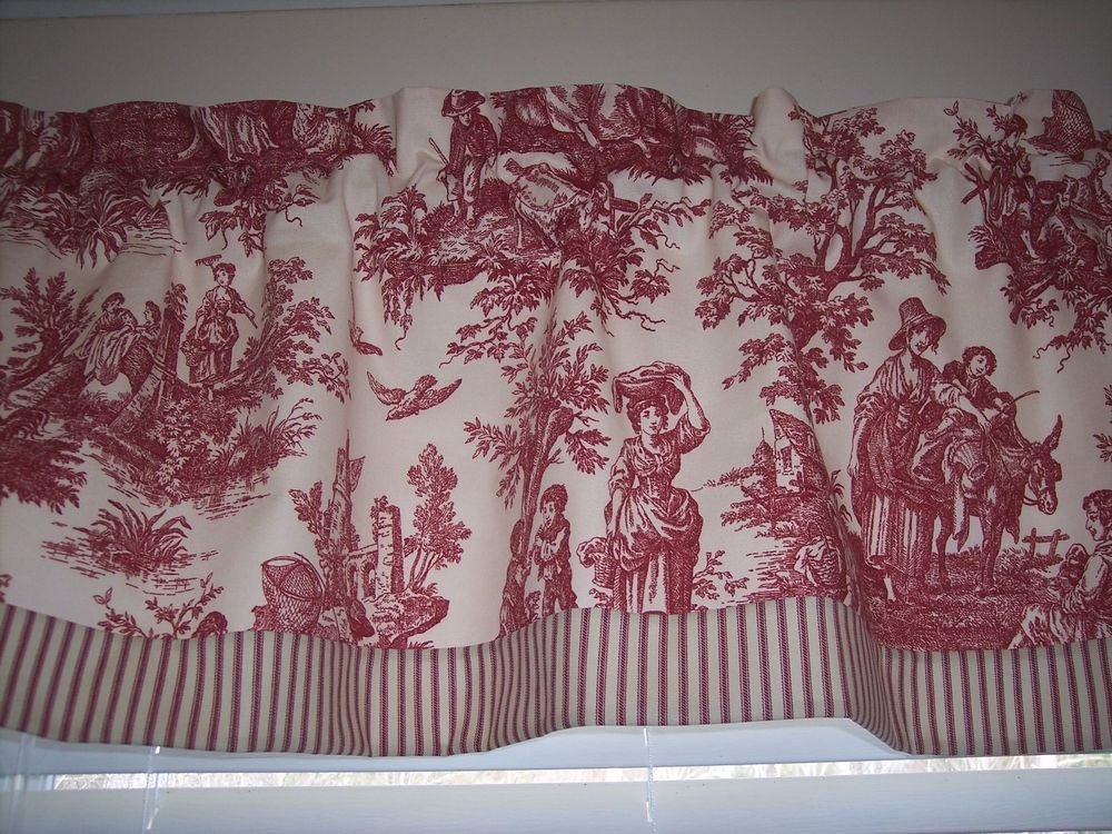 Waverly Garnet Red Country Life Toile With Striped Ticking Trim Straight Bottom Valance Classic Toile Design Valance French Country Bathroom Valance Curtains