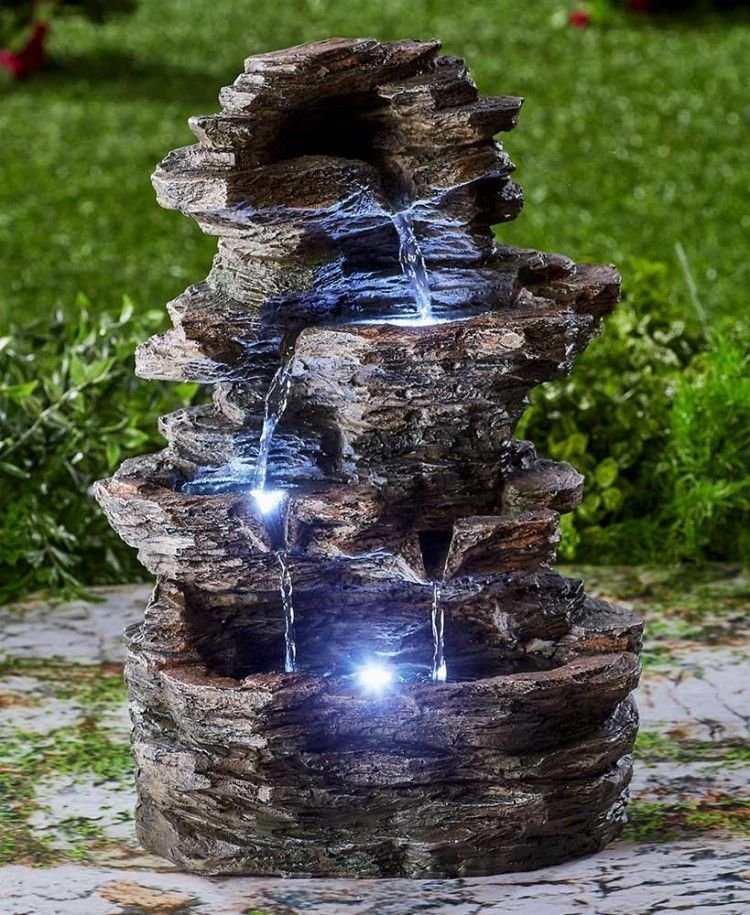 Lighted Water Fountain Feature Stacked Stone Garden Light Cascading Waterfalls Outdoor Waterfalls Garden Water Fountains Fountains Outdoor