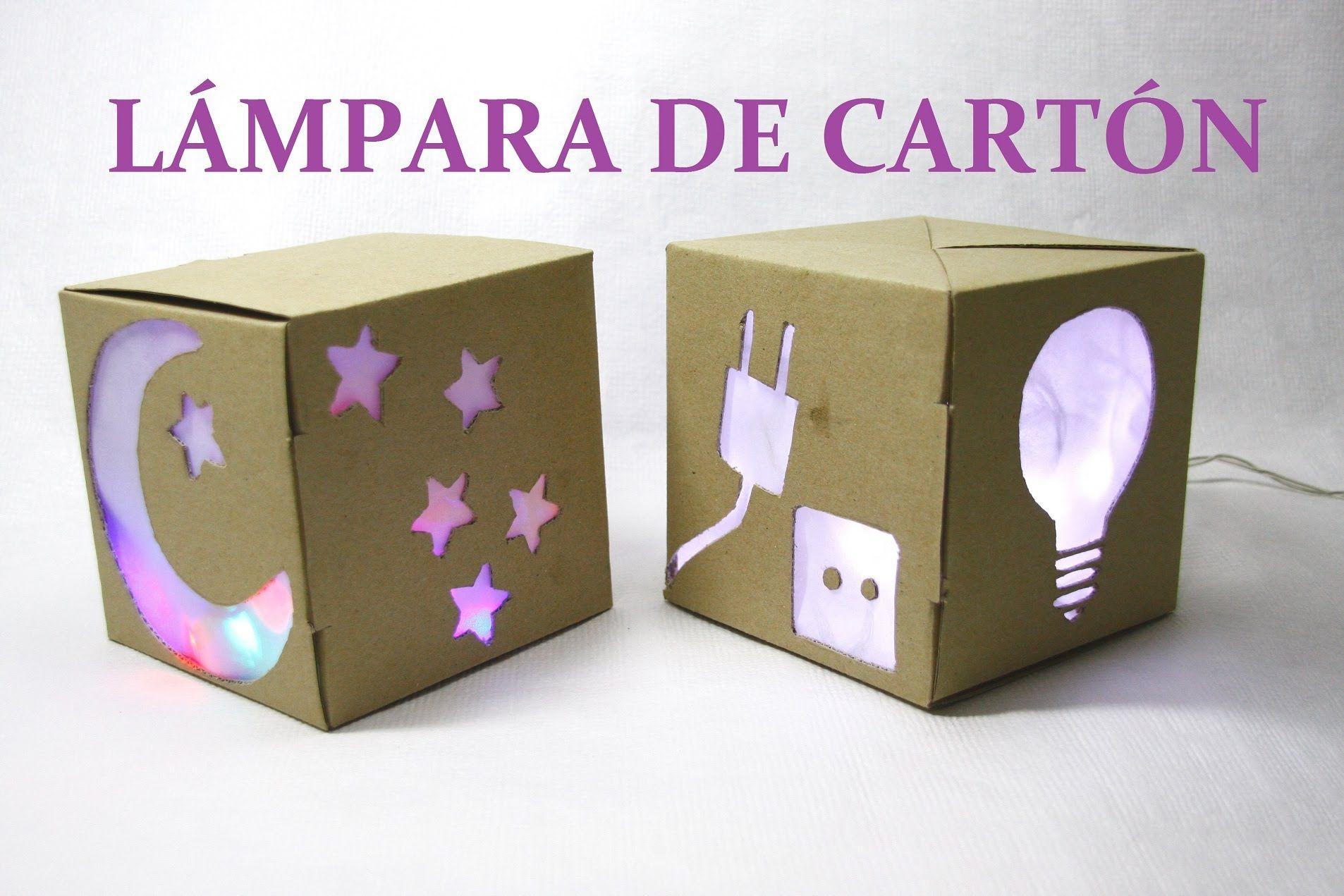 Diy l mpara con caja de de cart n diy lamp with cardboard - Manualidades con cajas ...
